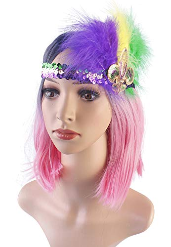Myjoyday Mardi Gras Feather Headband Fleur Di Lis Headwear Sequin Headpiece for Women (Purple Yellow Green 2PCS)