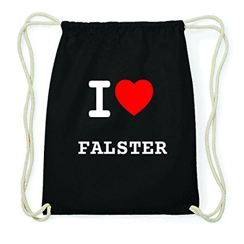 JOllify FALSTER Hipster Turnbeutel Tasche Rucksack aus Baumwolle - Farbe: schwarz Design: I love- Ich liebe
