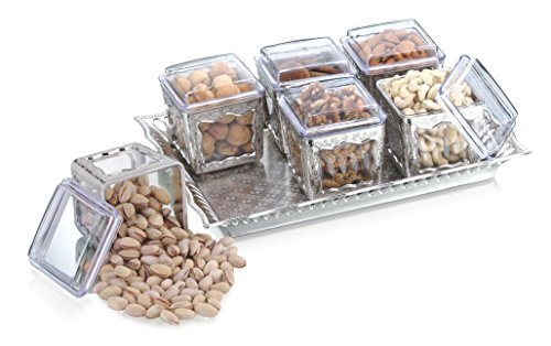 Sukhson India Silver Finished Containers Set With Tray, Box, Platters For Storing And Serving Dry Fruits, Sweets, Chocolates, Fancy Multipurpose Decorative, Traditional