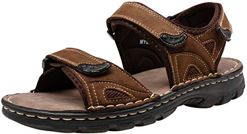 JOUSEN Men's Women's Sandals Leather Strap Water Beach Sandal Outdoor Open Toe Sandal (8,Dark Brown-1)