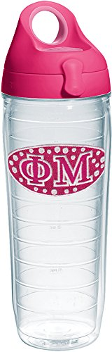 Tervis 1231835 Fraternity - Phi Mu Insulated Tumbler with Emblem and Passion Pink Lid, 24 oz, Clear