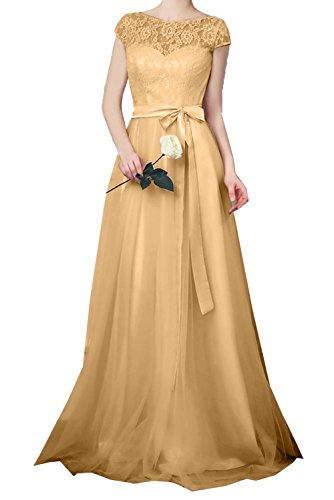 DressyMe Women's Lace Evening Dresses Sleeves A-Line Sash Party Gown-26W-Champagne ()