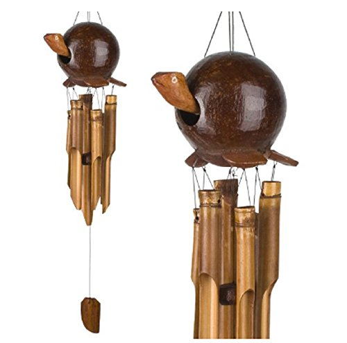 MyEasyShopping Sea Turtle Gooney Bamboo Outdoor Garden Wind Chime - Wood Natural Animal Design Coconut Shell Bamboo Artist Head Dotted Bobble Wood Ring Long Home Garden Decoration Bamboo Bobble Head