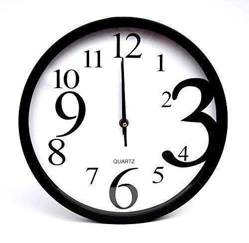 Reloj pared de cuarzo con Puntero diferente tamaño Números grandes para cocina De diseño- Negro: Amazon.es: Relojes