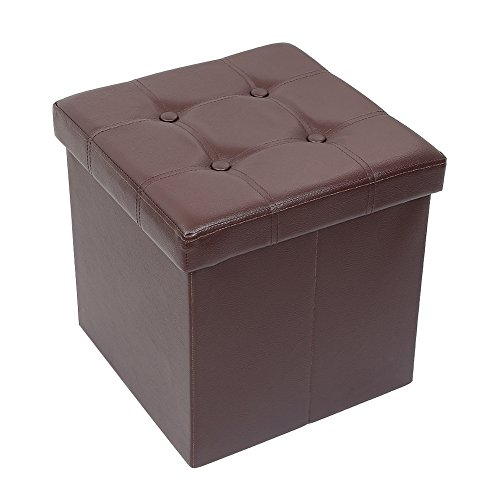 Amoiu 15'' x 15''x 15'' Folding Storage Ottoman Cube Foot Rest Stool Seat Coffee Table - Faux Leather, Brown by Amoiu (Image #8)
