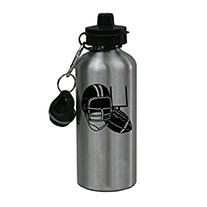 Personalized Custom Football Aluminum Silver Finish 20 Ounce Water Bottle Customizable