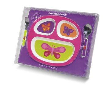 Butterflies Gift Set: Divided Plate, Fork & Spoon by Crocodile Creek   B000JOQM6S