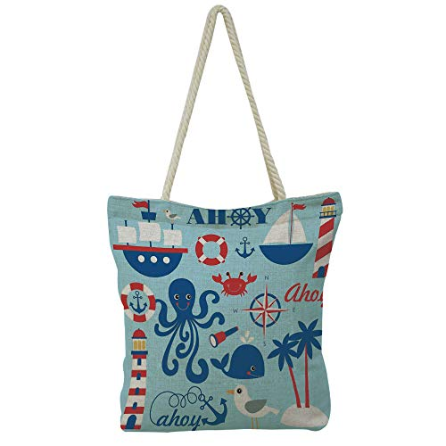 n and Linen Shoulder Bag High-Capacity,Sea Objects Collection Palm Trees Octopus Spyglass,Graph Customization Design ()