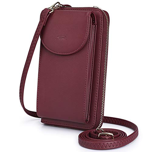 S-ZONE PU Leather RFID Blocking Crossbody Cell Phone Bag for Women Wallet Purse