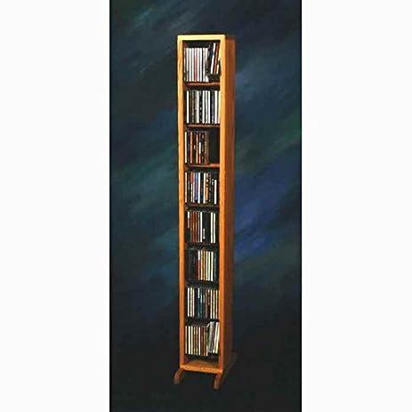 Captivating Dowel CD Storage Tower (Honey Oak)