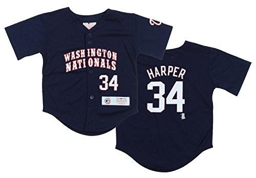 Washington Nationals MLB Toddler Bryce Harper #34 Replica Jersey, Blue (Navy, 4T)