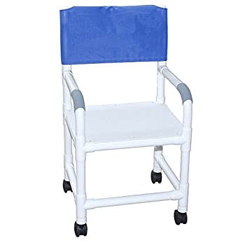 "MJM International 118-3TW-F Standard Shower Chair with Flat Stock Seat, 300 oz Capacity, 40.5"" Height x 22"" Width x 25.25"" Depth, Royal Blue/Forest Green/Mauve"