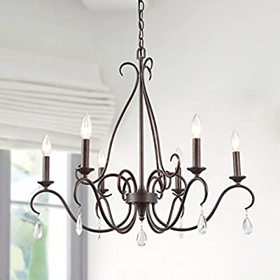 """LALUZ Transitional Chandelier for Living Room, 6-Light Kitchen Island Lighting for Dining Room with Crystal Pendant, 28"""" L x 25.5"""" H"""
