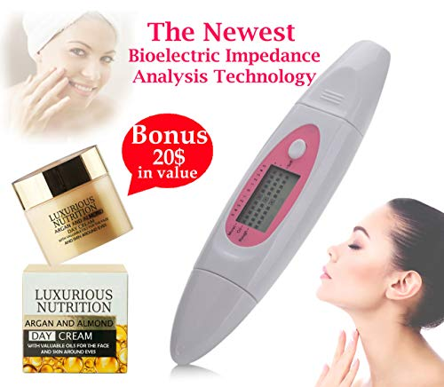 Monitor Your Skin Condition with Compact Digital BIA Test Beauty Exam Facial Analyzer Diagnosis Spa Tool, Maintain Healthy Looking Skin + European Super Nutrient Facial Cream $25 in value + E-Book