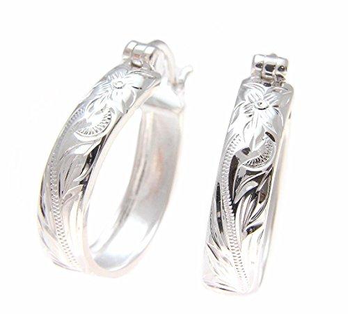 - 20mm Sterling silver 925 Hawaiian plumeria flower scroll oval hoop earrings
