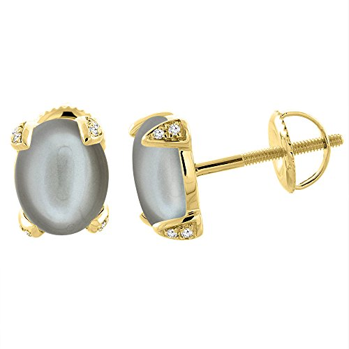 9x7 Oval Earrings (14K Yellow Gold Natural Gray Moonstone Screw back Earrings Oval 9x7 mm with Diamond Accents)