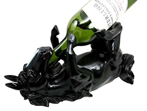 Atlantic Collectibles Black Equestrian Stallion Horse Wine Bottle Holder Caddy - Wine Wagon Holder