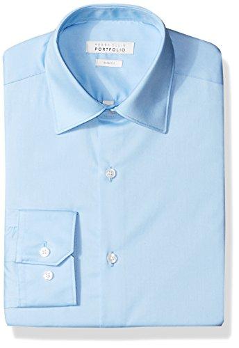 Perry Ellis Men's Slim-Fit Wrinkle-Free Solid Twill Dress Shirt, Light Blue, 16 34/35 (Dress Twill)