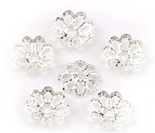Beautiful Bead 6mm Gold Tone Flower Bead Caps for Jewelry Making (About 500pcs) (8mm, Silver) ()