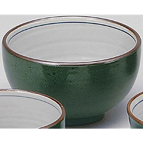 Deep Green 7 5inch Set Of 10 Ramen Bowls White Porcelain Made In Japan