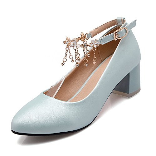 Toe Kitten Women's Shoes Buckle Solid Blue Pumps Closed Pointed Pu Heels WeiPoot 0ARZqS0