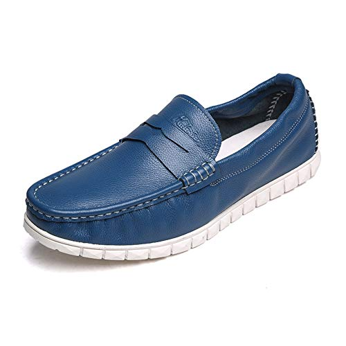 LXLA- Scarpe Da Uomo Slip-On Comode Da Uomo, Mocassini Casual Da Uomo A Testa Tonda Per Uomo (Colore : Yellow brown, dimensioni : 8 US/7 UK) Blu