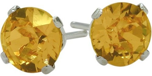 Genuine 4mm Round Citrine 14 Karat White Gold Stud Earrings for Girls 0.80Ct