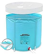 Portable Plastic Bathtub,Folding Spa Bathtub for Adults, Freestanding Soaking Tub Non-Inflatable Ice Bath Tub, Thickened Thermal Foam to Keep Temperature