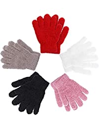 Kids Gloves Full Fingers Knitted Gloves Warm Mitten Winter Favor for Little Boys and Girls (Color Set 9, 7-11 Years Size)