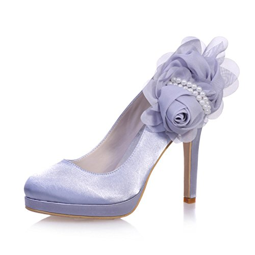 6915 Party Close Silk Wedding L 07 Toe amp; Party YC Heels High Woman's Silver pWBAW7