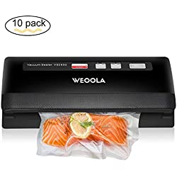 Vacuum Sealer/Food Sealer Machine,Automatic Vacuum Air Sealing System for Food Preservation, Sous Vide,Clothes and Mason Jar | 3 sealing options | 4 Food Modes | Led Indicator Lights | 10 Sealer Bags