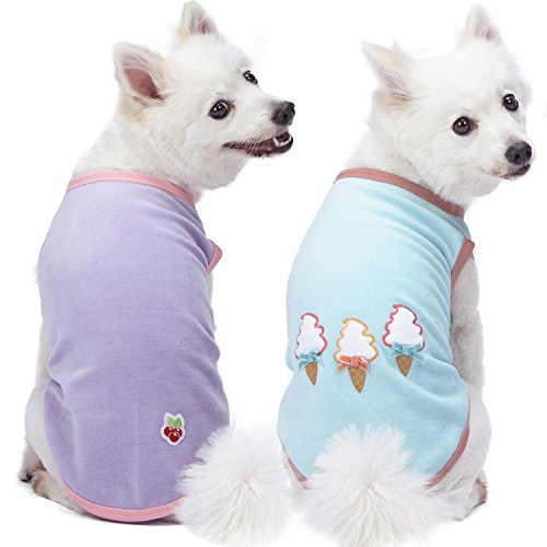 Blueberry Pet Pack of 2 Soft & Comfy Perfect Wardrobe Essential Everyday Cotton Blend Dog Pajamas & Tank Top T Shirts, Back Length 16