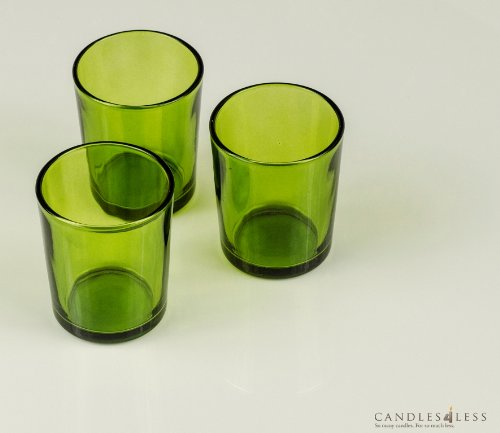 Candles4Less - Green Glass Votive Candle Holders (Set of 72), Green Colored Glass Votive Holders perfect for Weddings and any Events