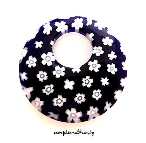 Glass Pendant Millefiori (34mm Millefiori Glass Focal Component GoGo Donut Bead Drop Pendant Flowers)
