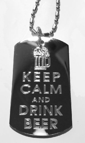 Keep Calm and Drink Beer w/ Iced Mug - Military Dog Tag, Luggage Tag Metal Chain Necklace (Fight Military Hat)