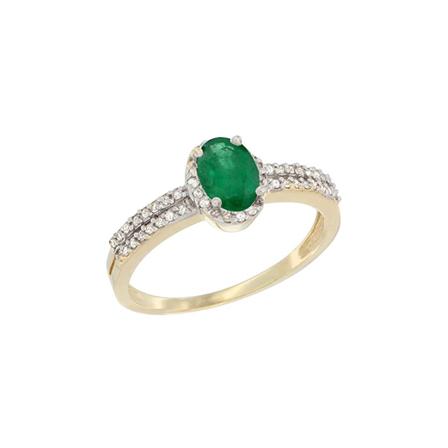14K Yellow Gold Natural Emerald Ring Oval 6x4mm Diamond Accent, sizes 5 10