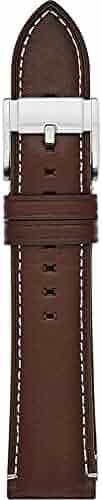 Fossil S221245 22mm Leather Calfskin Dark Brown Watch Strap