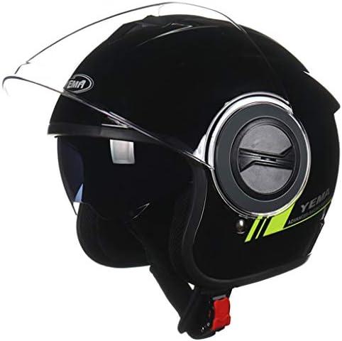ZJJ ヘルメット- ファッション電動バイクヘルメット、雨と紫外線保護マルチカラーオプションヘルメット、二層レンズ (色 : Bright black, サイズ さいず : 25x32cm)