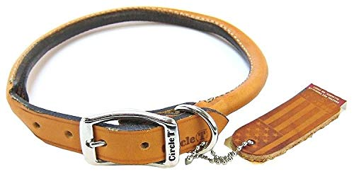 Coastal Pet Products Circle T Oak Tanned Leather Round Dog Collar, 3 4  x 18 , Tan