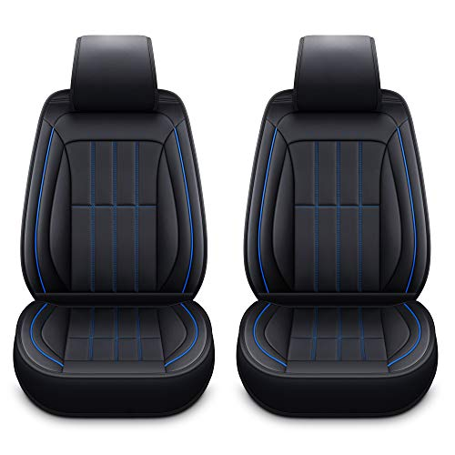 LUCKYMAN CLUB 2 Front Leather Seat Covers Fit for Dodge RAM 1500 Avenger RAM 2500 Caliber Dart Magnum Neon Nitro Intrepid Stratus Journey (2 PCS Front, Black and Blue)