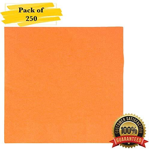Orange Cocktail Napkins - MM Foodservice 2- Ply Cocktail Napkins, Beverage Paper Napkins, Set of 250 (Orange)