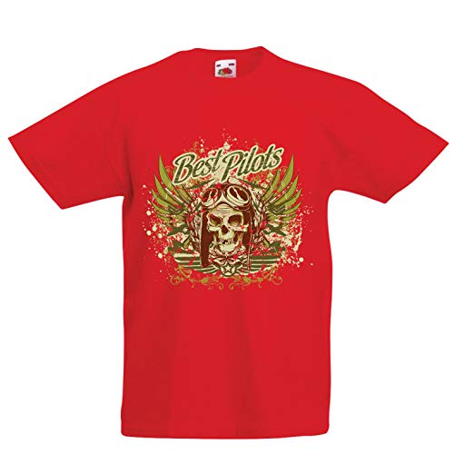 lepni.me Kids T-Shirt The Best Pilots - Airplane Flying Skull (1-2 Years Red Multi Color)