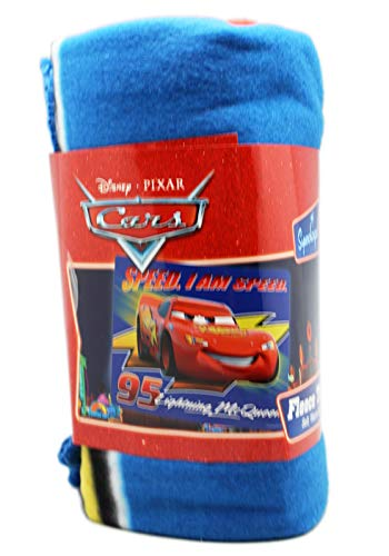 blanket Disney Pixar's Cars Lightning McQueen Speed, I am Speed Blue Fleece