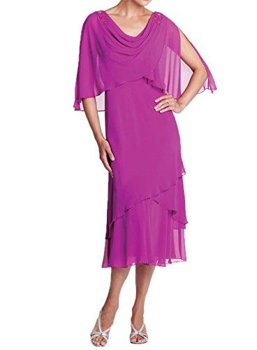 Kurzes Charmant Damen Neu Abendkleider Partykleider Promkleider Brautmutterkleider mit Pink 2018 Stola Chiffon qqp5nwOH