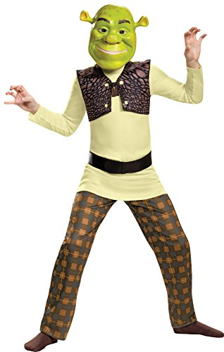 Disguise UHC Boy's Shrek Ogre Cartoon Movie Mike Myers Outfit Child Halloween Costume, Child M (7-8)