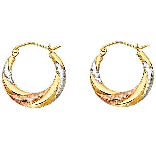 - Women's 14k Tricolor Gold Fancy Hollow Hoop Earrings (0.78 in x 0.78 in)