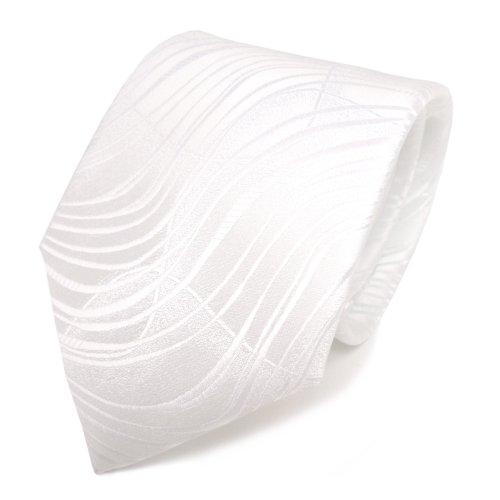 TigerTie Designer cravate blanc blanc ondes motif - Tie