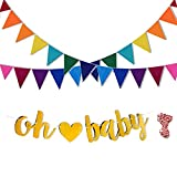 Rainbow Felt Fabric Bunting and Oh Baby Banner, Decorative Banners for Baby Shower, Birthday Party and Room Decoration