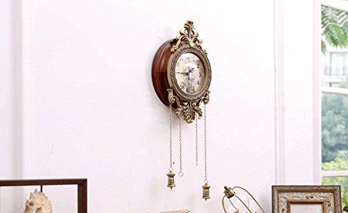 Juli Wanduhr 9.6 Zoll Pendel Wanduhr Stumm Uhr Mit Anh/änger F/ür Wohnzimmer Europ/äischen Klassischen Nicht Tickende Uhr Holzrahmen Metall Dekor Glasabdeckung Arabische Ziffern Uhr