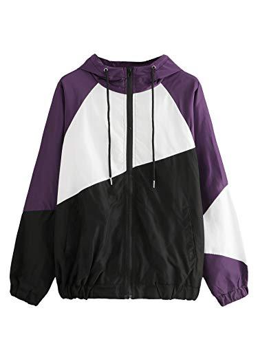 Milumia Women's Color Block Drawstring Hooded Zip Up Sports Jacket Windproof Windbreaker Multicolor-16 Small